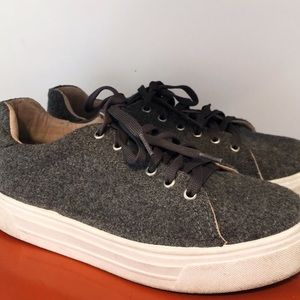 fuzzy gray sneakers